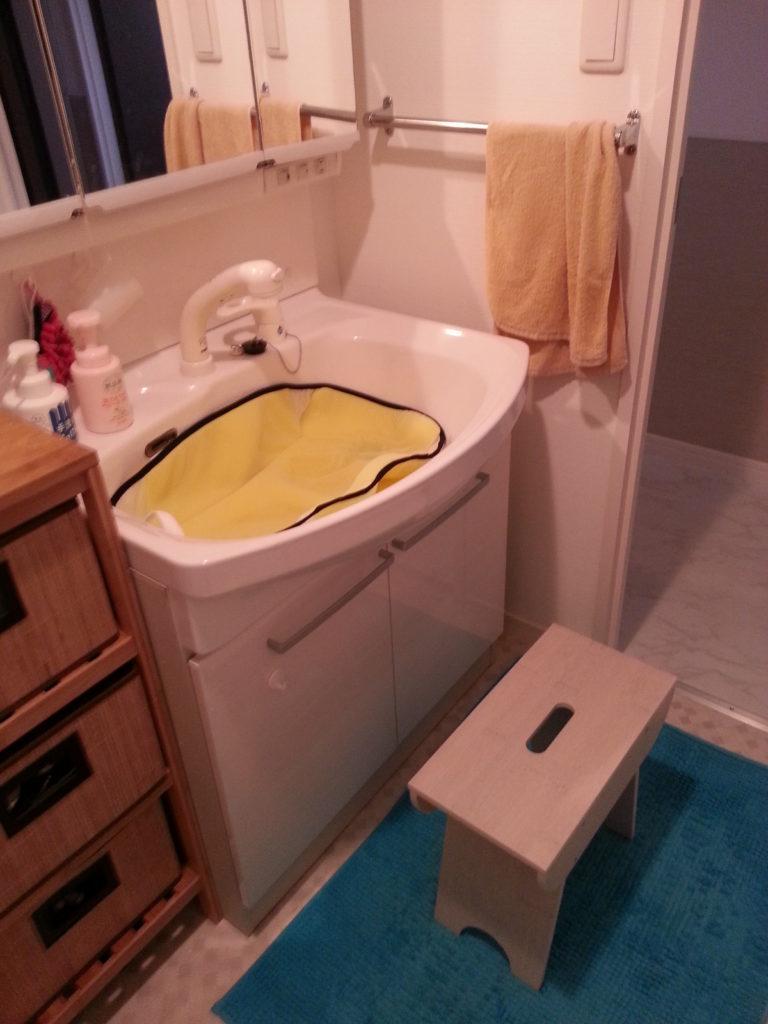 一人での沐浴に便利なアイテム!!沐浴マット&IKEAのスツール