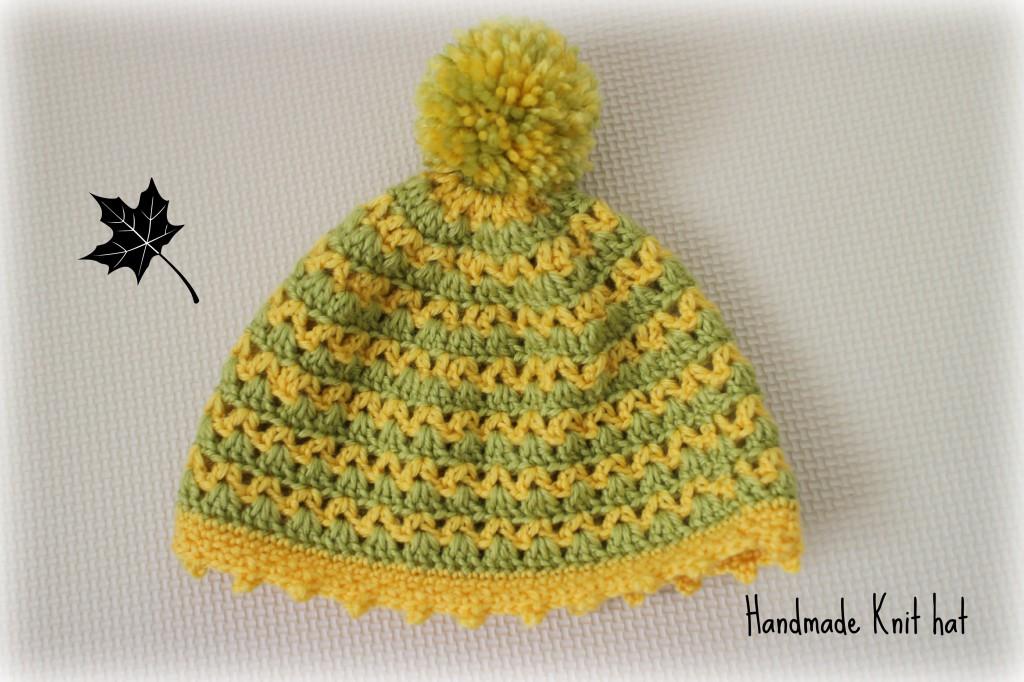 手編みのニット帽もらったよ。
