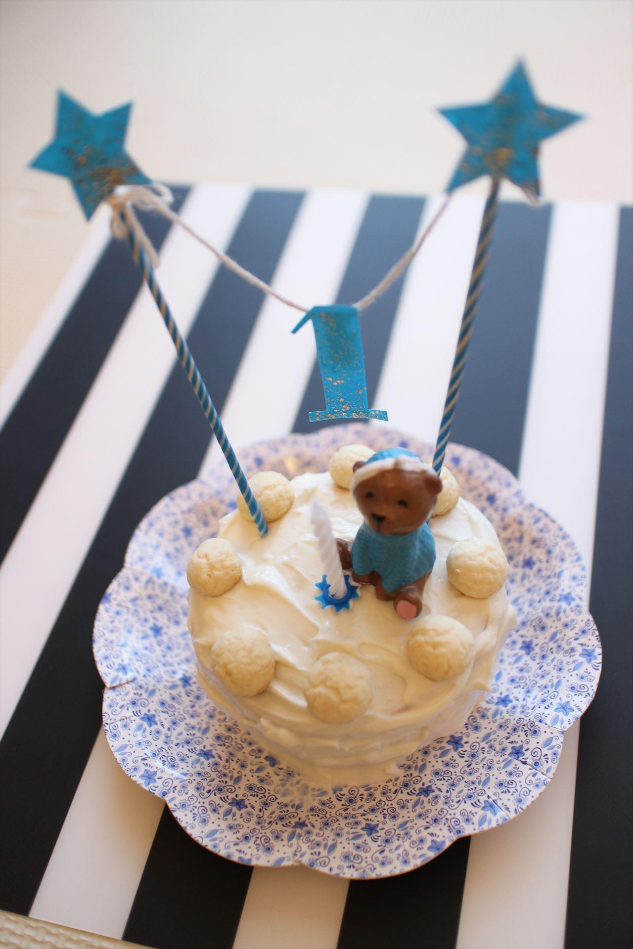 1才誕生日の手作りケーキ♡ブルーな男の子。
