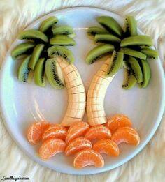子供が喜ぶフルーツおやつの盛りつけ。