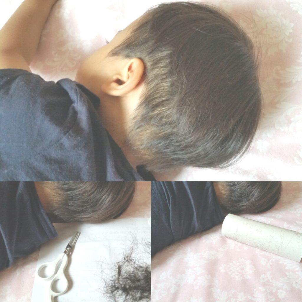 2才男児、夏のセルフ散髪。すきバサミ使用。