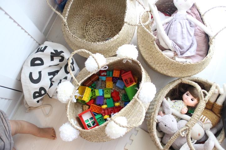 おもちゃ収納バスケット、シーグラス、レゴ、ぬいぐるみ