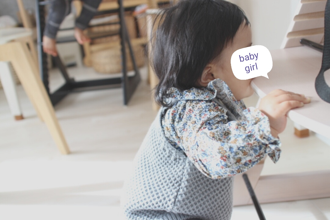 生後8ヶ月ベビーの前髪カットとペコちゃんスタイル。