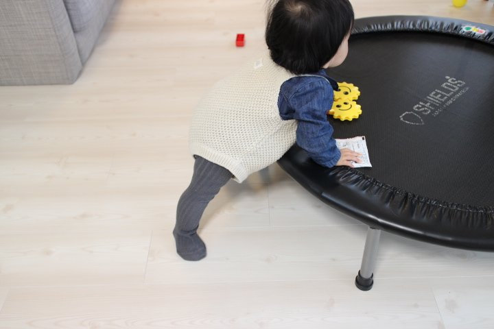 生後8ヶ月成長記録:スツールで移動する赤ちゃん。