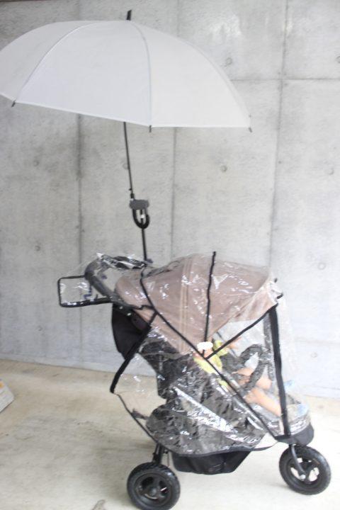 【雨ハック】エアバギーに傘スタンドさすべえを付けてみた。