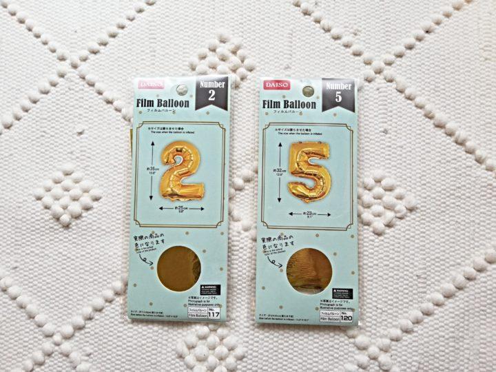 2才女の子誕生日デコレーション品購入。ダイソーの数字バルーンを買ってみた。