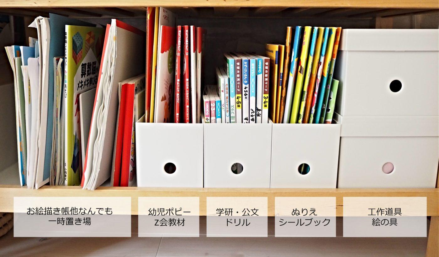 幼児教材の収納、無印とIKEA